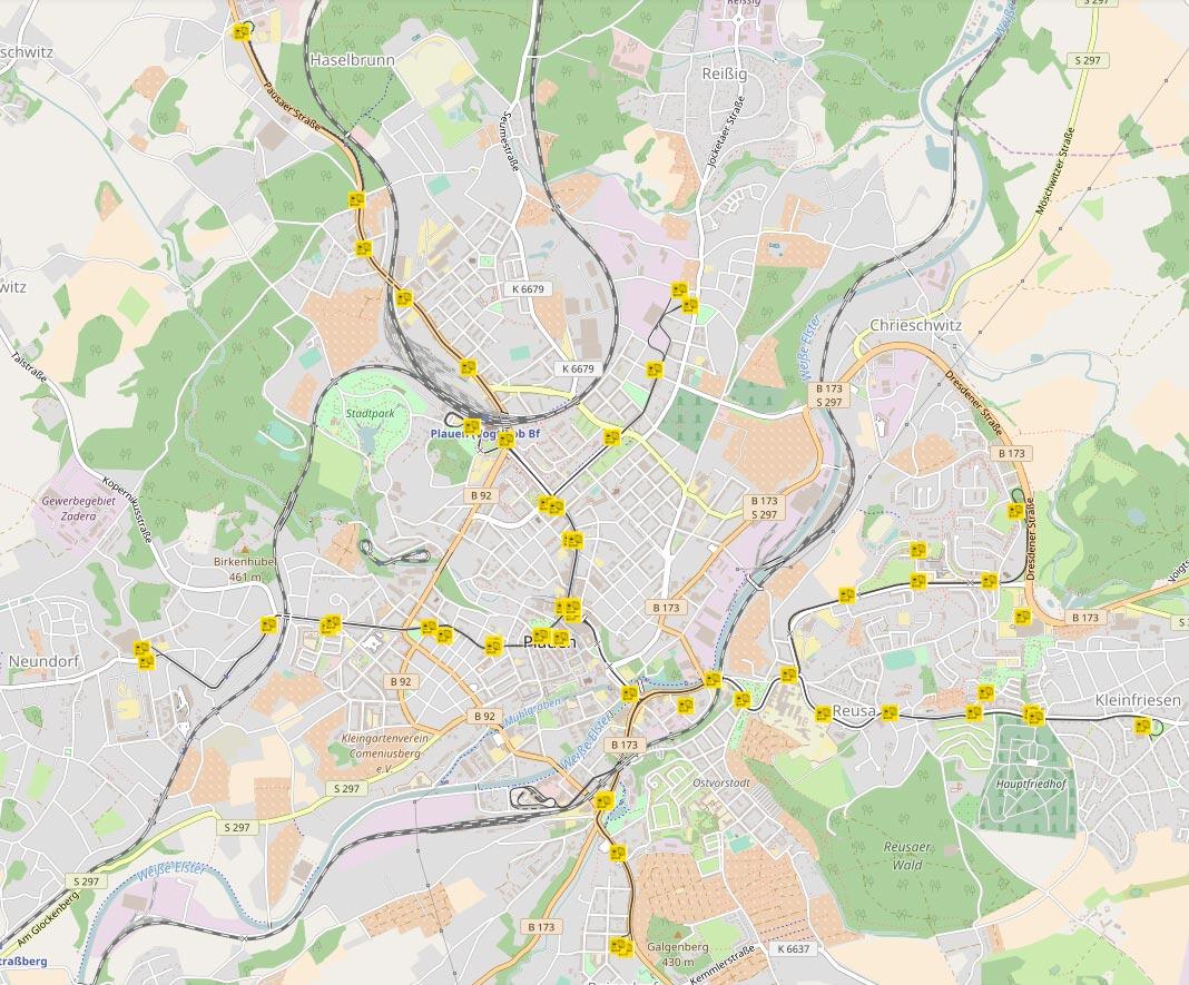 Verzeichnis der Fahrschein-Verkaufsstellen Straßenbahn Plauen